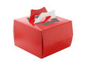 Red takeaway cake box on white background Stock Photo