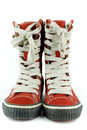 Red tall sneakers shoes Stock Photo