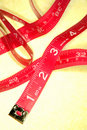 Red tape measure Stock Photo