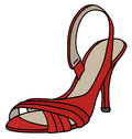 Red tape shoe on high heel Royalty Free Stock Photo