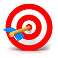 Red target d render illustration of Royalty Free Stock Photos