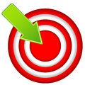 Red target icon with drop shadow in circular design Royalty Free Stock Photography