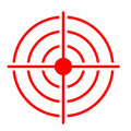 Red target icon on white background.