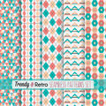 Red and teal trendy, modern and retro patterns set