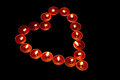 Red tealight candles arranged shape heart good love valentines day romantic symbol Stock Photo
