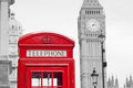 Red telephone booth and big ben in london street Stock Photos