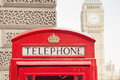 Red telephone booth and big ben in london street Stock Photography