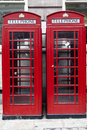 Red Telephone Booths in London England Royalty Free Stock Photo