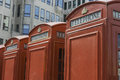 Red telephone booths london traditional old style Royalty Free Stock Image