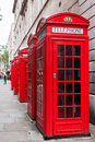 Red telephone booths traditional in london Stock Image