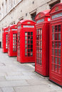 Red telephone booths traditional in london Royalty Free Stock Images