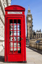 Red Telephone Box and Big Ben in London Royalty Free Stock Photo