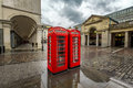 Red Telephone Box at Covent Garden Market on Rainy Day Royalty Free Stock Photo