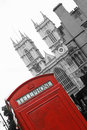Red telephone box and Westminster Abbey Royalty Free Stock Photos