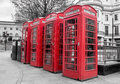 Red telephone boxes a group of in westminster london Royalty Free Stock Photos