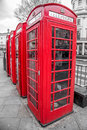 Red telephone boxes a group of in westminster london Stock Photos