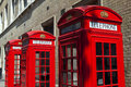 Red telephone boxes in london iconic Royalty Free Stock Photography