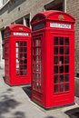 Red telephone boxes in london iconic Stock Photos