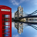 Red telephone boxes with Tower Bridge in London, U Royalty Free Stock Photo