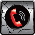 Red telephone gray cracked web button Stock Photos