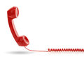 Red telephone receiver old fashioned isolated on a white Royalty Free Stock Photography
