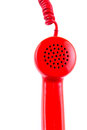 Red telephone receiver on white background a Stock Photos