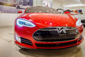 Red Tesla Model S70 electric car Royalty Free Stock Photo