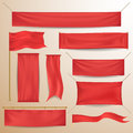 Red textile banners and flags Royalty Free Stock Photo