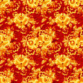 Red textile seamless pattern with golden flowers vector Stock Images