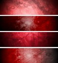 Red textural backgrounds set banners in grunge style vector background eps Stock Photography
