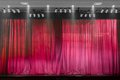 Red theater curtain closed after the show finished Stock Photography