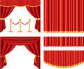 Red theater curtains set photo realistic Stock Photo