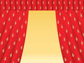 Red theatre curtain with royal lilies opened Stock Image