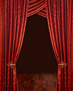 Red theatre curtains Stock Photo