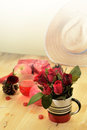 Red theme rose vintage lamp apple decor idea backround romantic nectar Stock Images