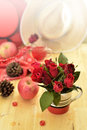 Red theme rose vintage lamp apple decor idea backround romantic nectar Royalty Free Stock Photos