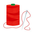 Red thread spool with needle sewing and sharp inserted Royalty Free Stock Images