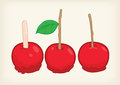 Red three candy apple vector and cliparts