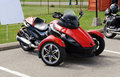 Red three wheel motorcycle Royalty Free Stock Photo