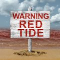 Red Tide Beach Warning Royalty Free Stock Photo