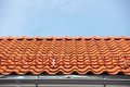 Red tile roof with stairs Royalty Free Stock Images