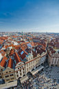 Red tiled roof tops, Old Town square, Prague Stock Images