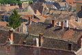Red tiled roofs in medieval european town aerial view of hungary Stock Image