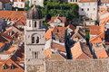 Red tiled roofs of the old Dubrovnik Royalty Free Stock Photo