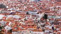 Red tiled roofs of the town of Nazare in Portugal Royalty Free Stock Photo