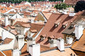 Red tiles roofs in old town very typical all over europe old town scenary Stock Photo