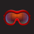 Red tinted ski goggles close up Royalty Free Stock Images