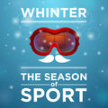 Red tinted ski goggles ou blue background winter the season of sport Stock Photos