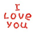 Red tiny hearts isolated on wite message i love you from Royalty Free Stock Photos