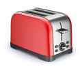 Red toaster retro on white background d illustration Stock Photography